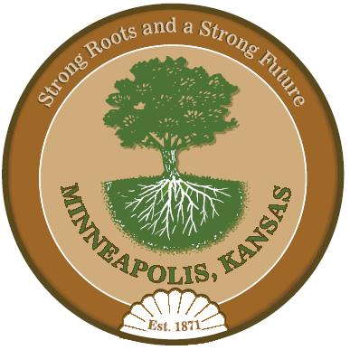 Minneapolis, Kansas logo - Strong Roots and a Strong Future Est. 1871